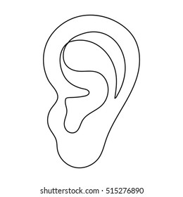 Ear icon in outline style isolated on white background. Part of body symbol stock vector illustration.