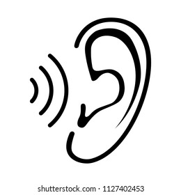Ear icon with sound wave. Isolated sign on white background. Symbol for graphic and web design. Vector illustration