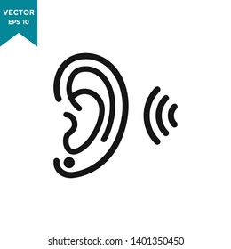 ear icon in trendy flat design, hearing vector icon