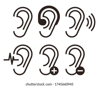 Ear icons. Hearing problem icons set isolated on white backgroundd