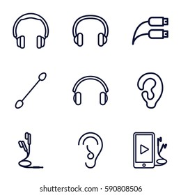 ear icons set. Set of 9 ear outline icons such as ear, cotton buds, phone and earphones, earphones, earphone wire, headset