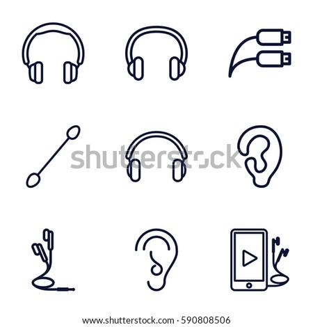 ear icons set set 9 ear stock vector royalty free 590808506