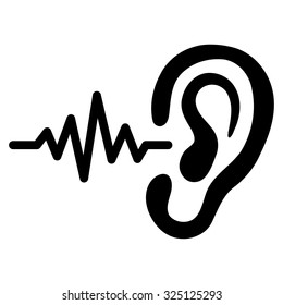 Ear listen sound signal vector icon. Style is flat symbol, black color, rounded angles, white background.
