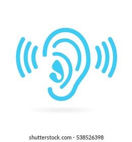 Ear listen vector icon on white background. Ear vector icon. Listening vector icon.