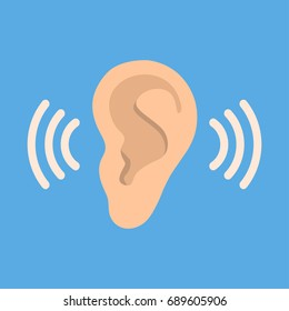 Ear listen vector icon on blue background. Ear vector icon. Listening vector icon.