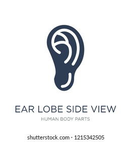 Ear lobe side view icon. Trendy flat vector Ear lobe side view icon on white background from Human Body Parts collection, vector illustration can be use for web and mobile, eps10