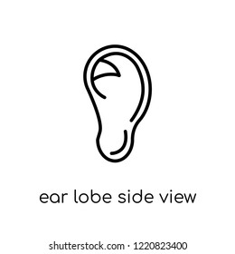 Ear lobe side view icon. Trendy modern flat linear vector Ear lobe side view icon on white background from thin line Human Body Parts collection, editable outline stroke vector illustration
