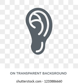 Ear lobe side view icon. Trendy flat vector Ear lobe side view icon on transparent background from Human Body Parts collection.