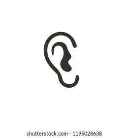 Ear lobe side view outline logo