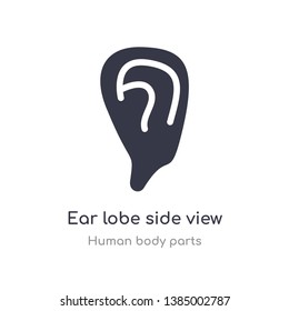 ear lobe side view outline icon. isolated line vector illustration from human body parts collection. editable thin stroke ear lobe side view icon on white background