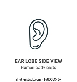 Ear lobe side view outline vector icon. Thin line black ear lobe side view icon, flat vector simple element illustration from editable human body parts concept isolated stroke on white background