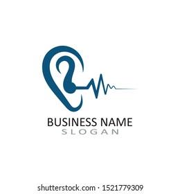 Ear logo hearing and symbol clinic