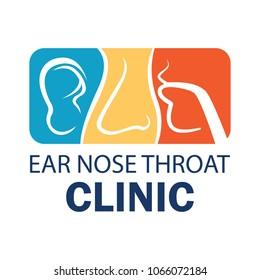 ear nose throat (ENT) logo for Otolaryngologists  clinic concept. vector illustration