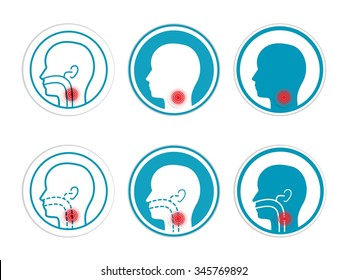 Ear, nose and throat symbol, gradient and transparency effects used
