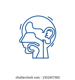 Ear, nose, and throat,ent line icon concept. Ear, nose, and throat,ent flat  vector symbol, sign, outline illustration.