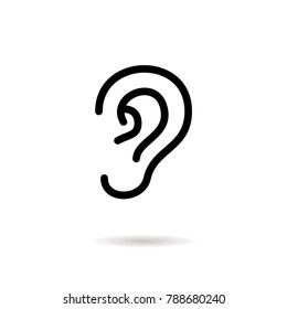 Ear - outline vector icon. Black pictogram isolated on a white background. Line symbol for design, logo, infographic and website.