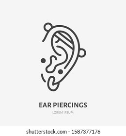 Ear piercing line icon, vector pictogram of face jewelry. Piercing studio logo, linear illustration.