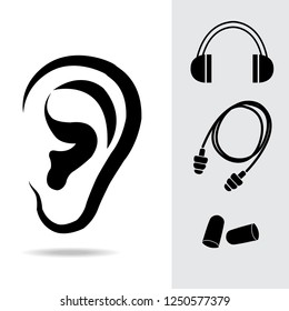Ear plugs and ear muffs set vector illustration. Ears protective equipment icons set.
