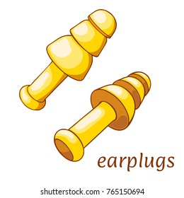 Ear plugs on a white background. Hearing protection earplugs in Cartoon style. Vector illustration
