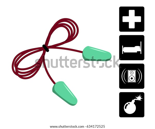 Ear plugs vector illustration. Foam ear plugs with usage icons set. Foam earplugs isolated on white. 3D like simple style template for advertisement, safety posters, package design.