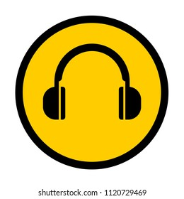 Ear protection sign, mandatory hearing protection, hazardous noise levels, vector illustration