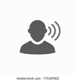 Ear & sound waves outline icon image for hearing or listening loss