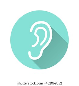 Ear vector icon with long shadow. White illustration isolated on green background for graphic and web design.