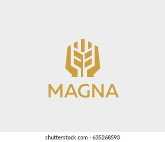 Ear vector logotype. Grain wheat with hands logo design.