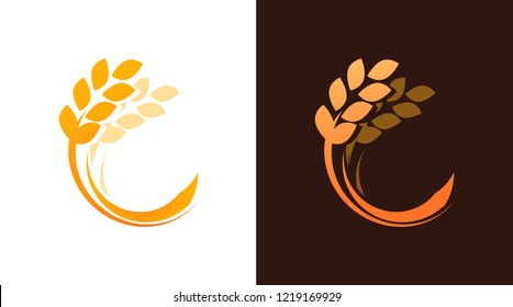 Ear of Wheat logotype for Bakery or Harvest Farm Company. Vector Emblem isolated on white and dark brown background. Nice illustration of a grains.