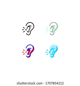 earache icon set.  simple, outline, color. healthcare and medical icon.