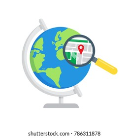 earch local maps. Global search icon. GPS Navigation. Vector illustration
