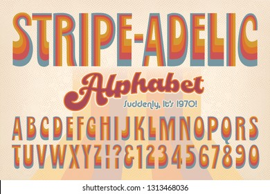 An early 1970s-style retro alphabet called Stripe-adelic. This font is rendered in muted 70s hues and evokes the vintage post-psychedelic look of the era.