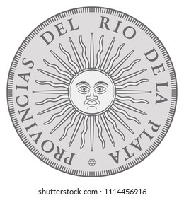 Early Argentinian silver coin with Sun of May, issued in the name of the United Province of the River Plate. Sol de Mayo, national emblem, a sun with face and sunbeams. Illustration over white. Vector