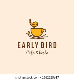 Early bird cafe and restaurant logo vector