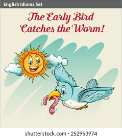 An early bird catching a worm idiom