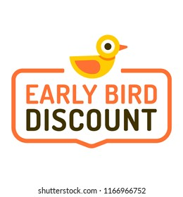 Early bird discount. Badge icon. Vector illustration on white background.
