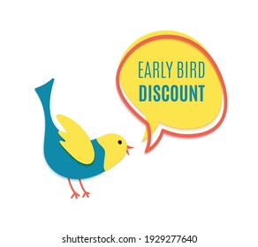 Early bird discount banner in paper cut style. Yellow speech bubble with red frame. Special discount sale event banner or poster template with chirping cute bird. Vector flat illustration.