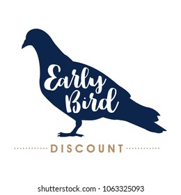 Early bird discount handwritten lettering, vector