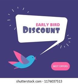 Early bird discount. Special offer sale banner. Early birds vector retail concept. Discount promotion sale, banner advertisement poster illustration