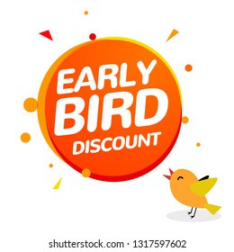 Early bird discount vector special offer sale icon. Early bird icon cartoon promo sign banner.