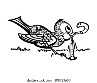 Early Bird Gets The Worm - Retro Clipart Banner