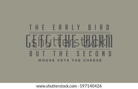 Early Bird Gets Worm Second Mouse Stock Vector Royalty Free