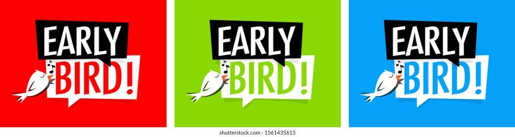 Early bird on speech bubble