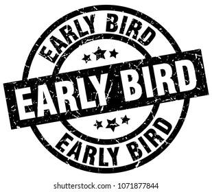 early bird round grunge black stamp