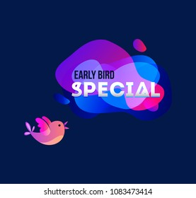 Early bird special banner with bird and geomethic shapes. Promotional futuristic design template on blue background with doodles. Vector illustration