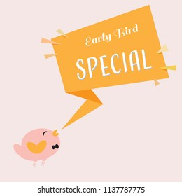 early bird special discount banner with cute bird and ribbon shapes promotional design template eps10 vector illustration
