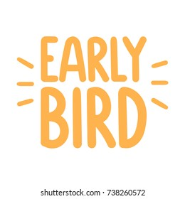 Early bird. Vector hand drawn illustration on white background. Business concept.