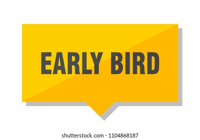 early bird yellow square price tag