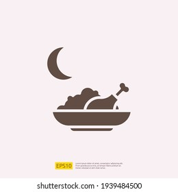 early breakfast or sahoor meal silhouette glyph solid icon for Muslim and Ramadan theme concept. Vector illustration