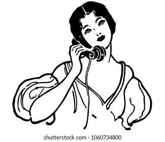 Early Century Gal On The Phone - Retro Clip Art Illustration